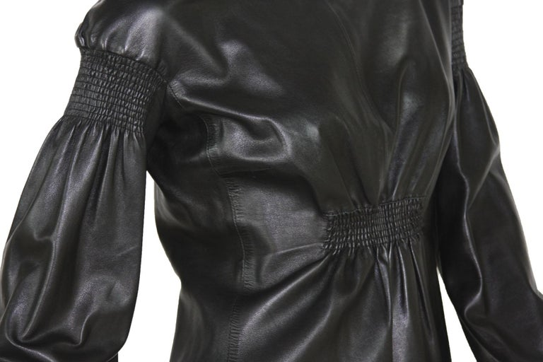 Tom Ford for Gucci F/W 1999 Super Soft Black Leather Back Zip Top Jacket 42 For Sale 3