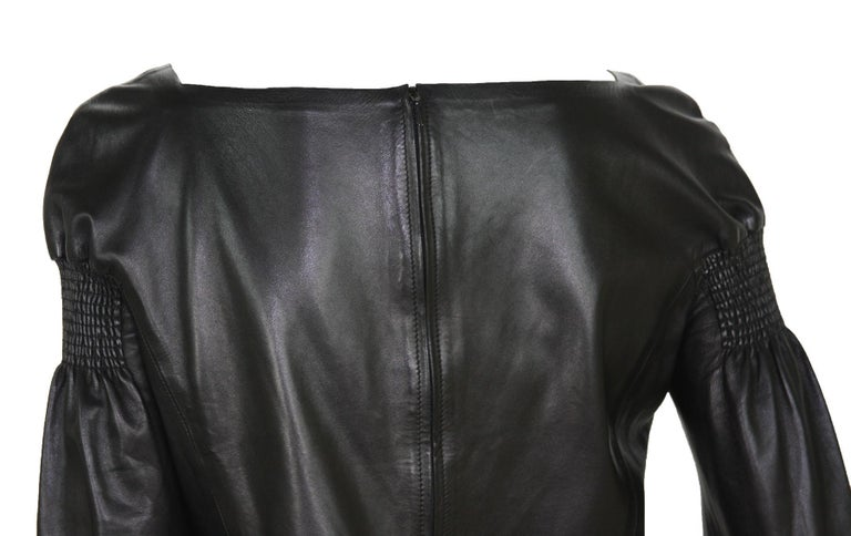 Tom Ford for Gucci F/W 1999 Super Soft Black Leather Back Zip Top Jacket 42 For Sale 4