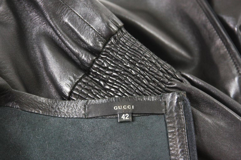 Tom Ford for Gucci F/W 1999 Super Soft Black Leather Back Zip Top Jacket 42 For Sale 5