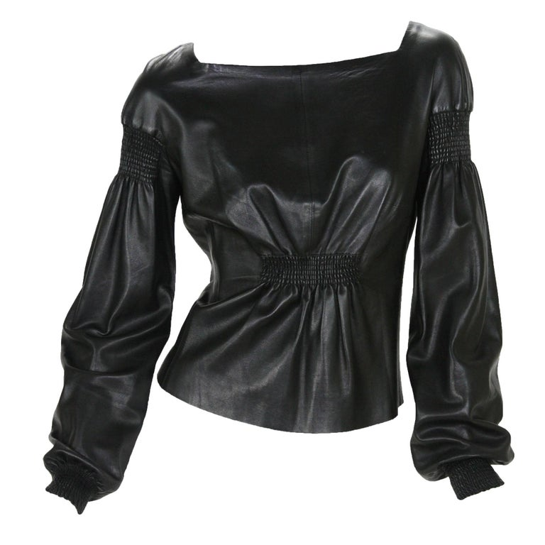 Tom Ford for Gucci F/W 1999 Super Soft Black Leather Back Zip Top Jacket 42 For Sale