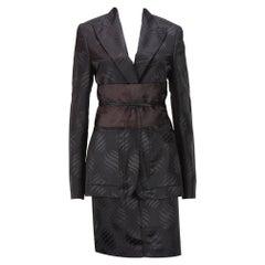Tom Ford for Gucci F/W 2002 Brown Silk Kimono Skirt Suit Obi Belt It 44 - US 8