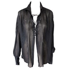 Tom Ford for Gucci F/W 2002 Sheer Plunging Lace-Up Black Tunic Shirt Blouse Top