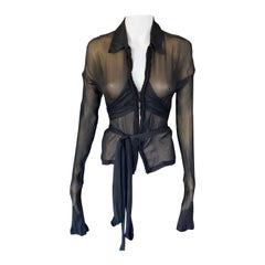 Tom Ford for Gucci F/W 2002 Silk Sheer Black Shirt Blouse Top