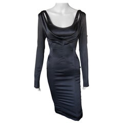 Tom Ford for Gucci F/W 2003 Cold Shoulder Silk Black Dress