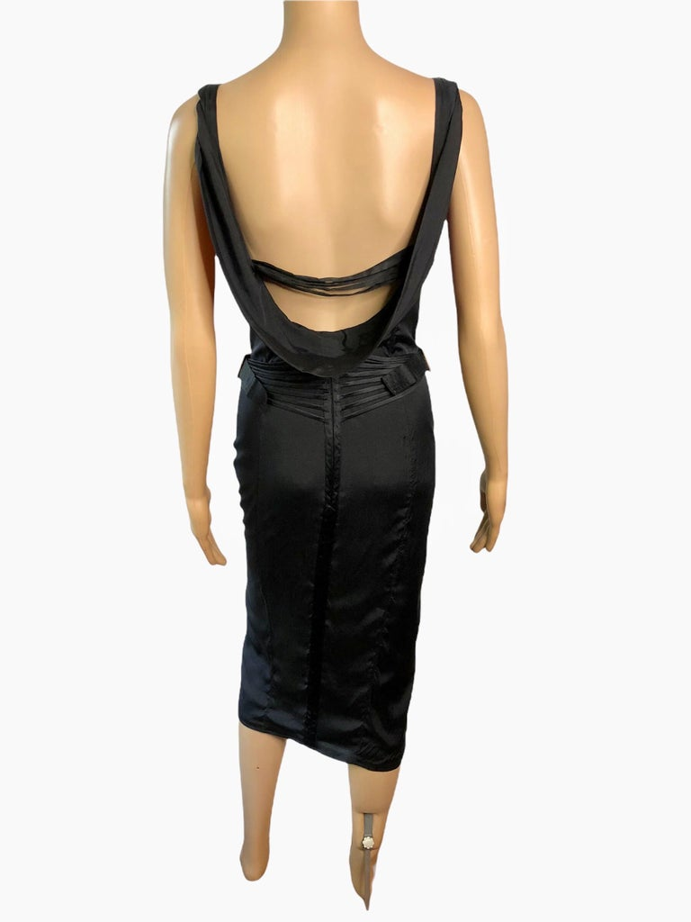 Tom Ford for Gucci F/W 2003 Runway Bustier Corset Silk Black Dress S/M  Tom Ford for Gucci silk black dress with structured bust featuring concealed corset bodice, hook-and-eye closures at center front and concealed zip closure at center back.