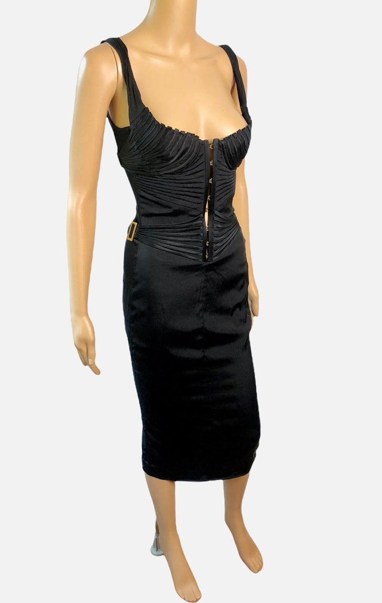 Tom Ford for Gucci F/W 2003 Runway Bustier Corset Silk Black Dress In Good Condition For Sale In Totowa, NJ