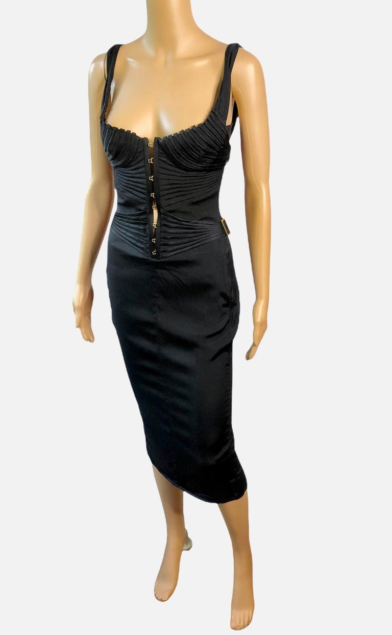 Women's or Men's Tom Ford for Gucci F/W 2003 Runway Bustier Corset Silk Black Dress For Sale
