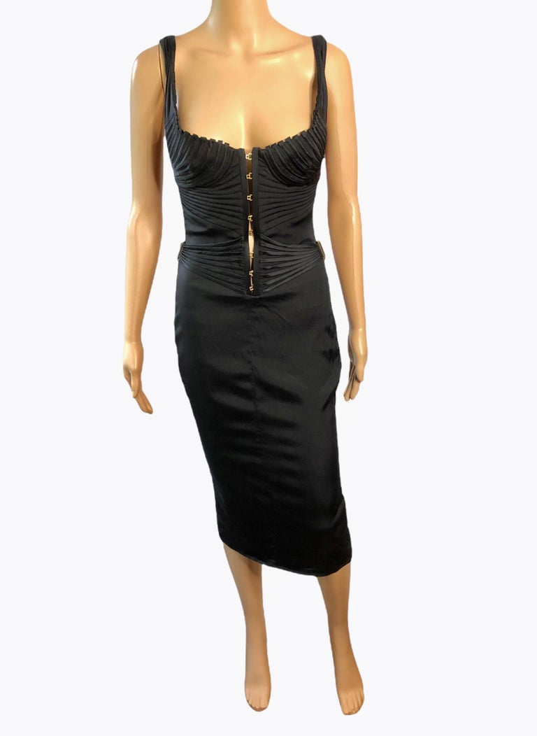 Tom Ford for Gucci F/W 2003 Runway Bustier Corset Silk Black Dress For Sale 2
