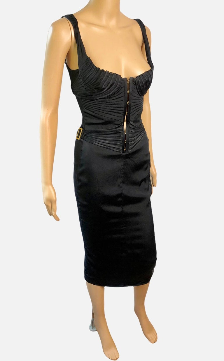 Tom Ford for Gucci F/W 2003 Runway Bustier Corset Silk Black Dress For Sale 3