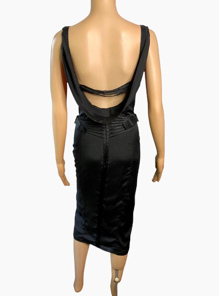 Tom Ford for Gucci F/W 2003 Runway Bustier Corset Silk Black Dress For Sale 4