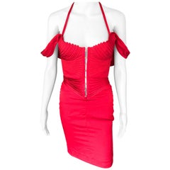 Tom Ford for Gucci F/W 2003 Runway Bustier Corset Silk Red Dress