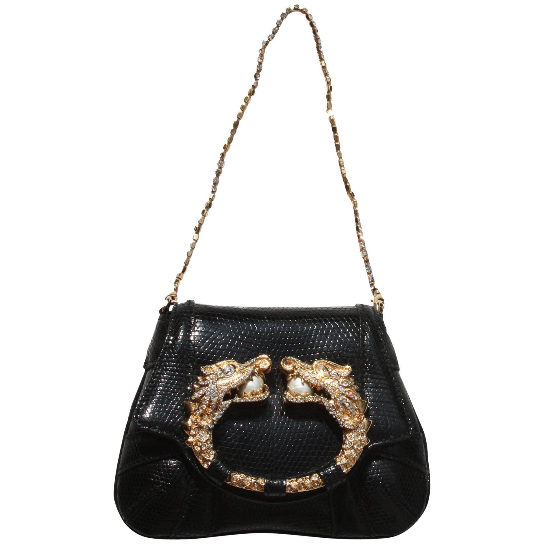 Tom Ford for Gucci F/W 2004 Lizard Evening Clutch Bag Jeweled Dragon