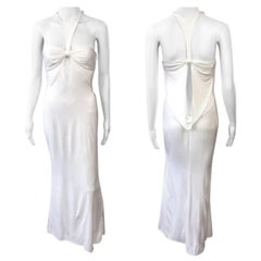 Tom Ford for Gucci F/W 2004 Plunging Cutout White Evening Dress Gown