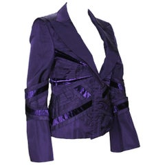 Tom Ford for Gucci F/W 2004 Runway Collection Purple Silk Taffeta Jacket 42 - 6