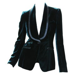 Tom Ford for Gucci F/W 2004 Runway Velvet Emerald Green Tuxedo Jacket Blazer 38