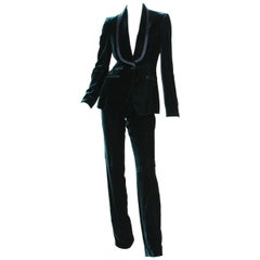 Tom Ford for Gucci F/W 2004 Runway Velvet Green Tuxedo Pant Suit It. 42 - US 6