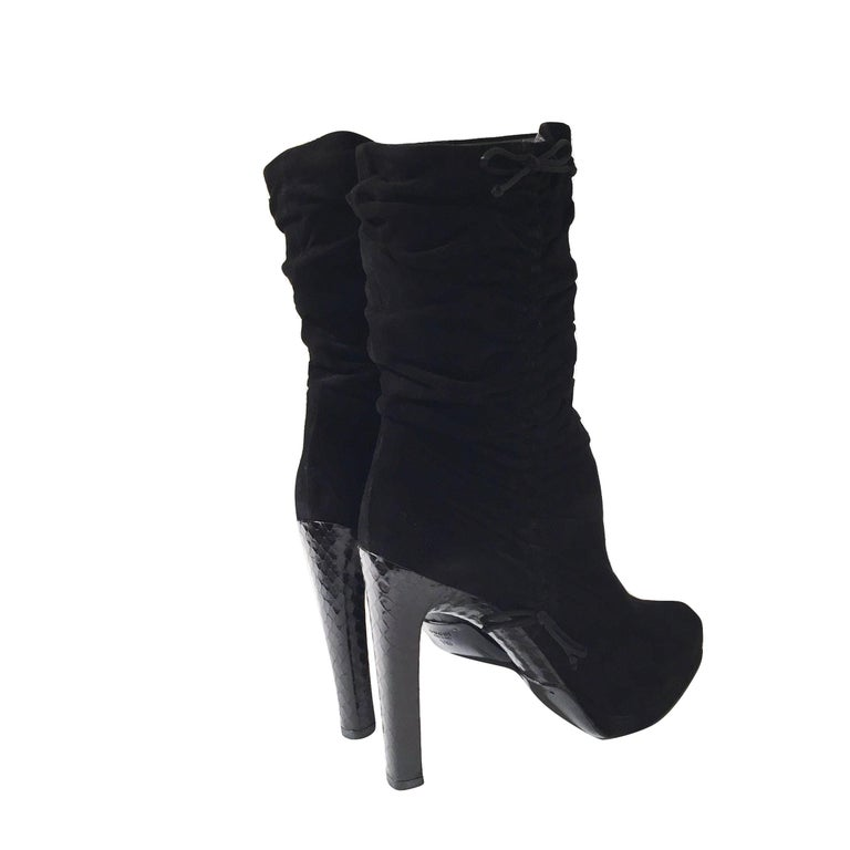 Tom Ford For Gucci Final Collection Python Runway Ad Suede Boots Sz 8 For Sale 7