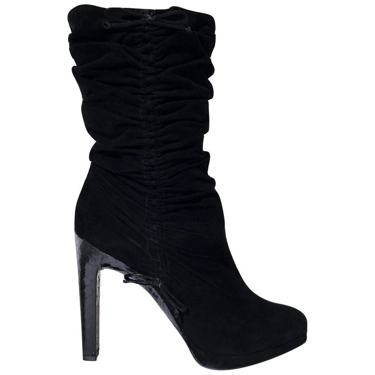 Tom Ford For Gucci Final Collection Python Runway Ad Suede Boots Sz 8 For Sale