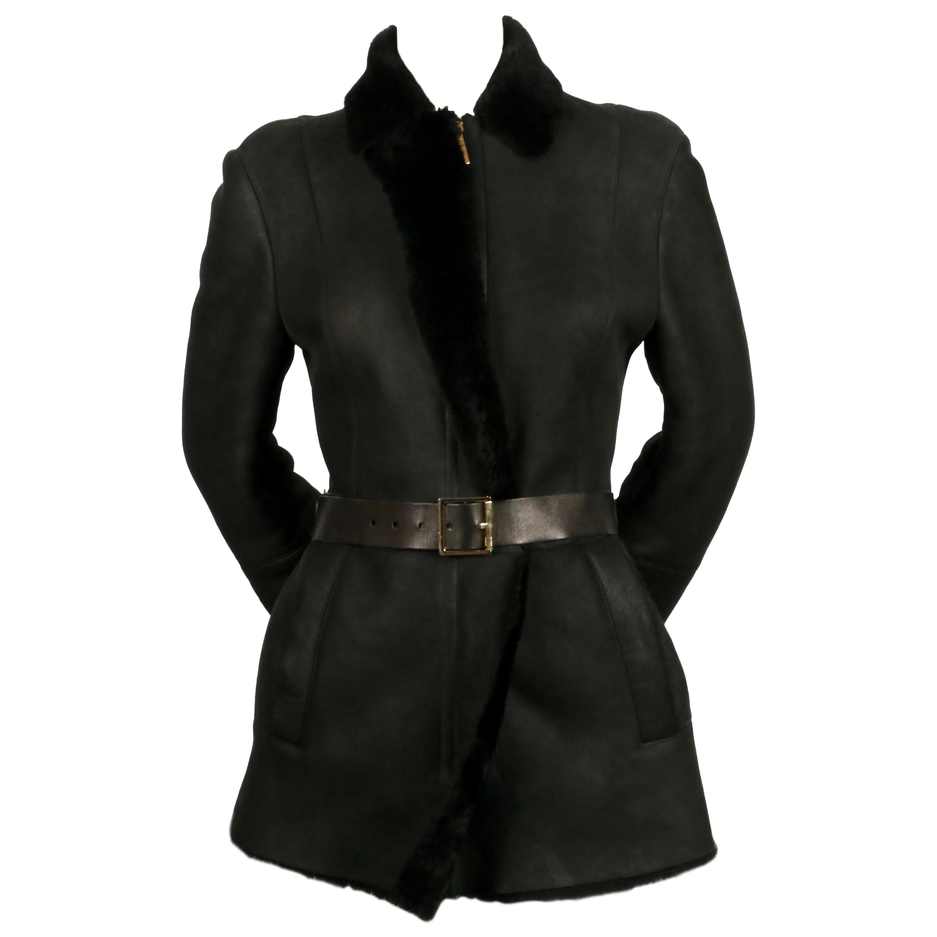 TOM FORD for GUCCI fitted black shearling coat with leather belt