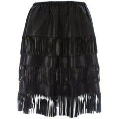 Tom Ford for Gucci fringed black leather skirt with cut out panels, S/S 1999