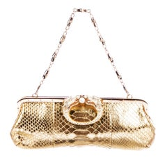 Tom Ford for Gucci Limited Edition F/W 2004 Gold Python Crystal Dragon Clutch