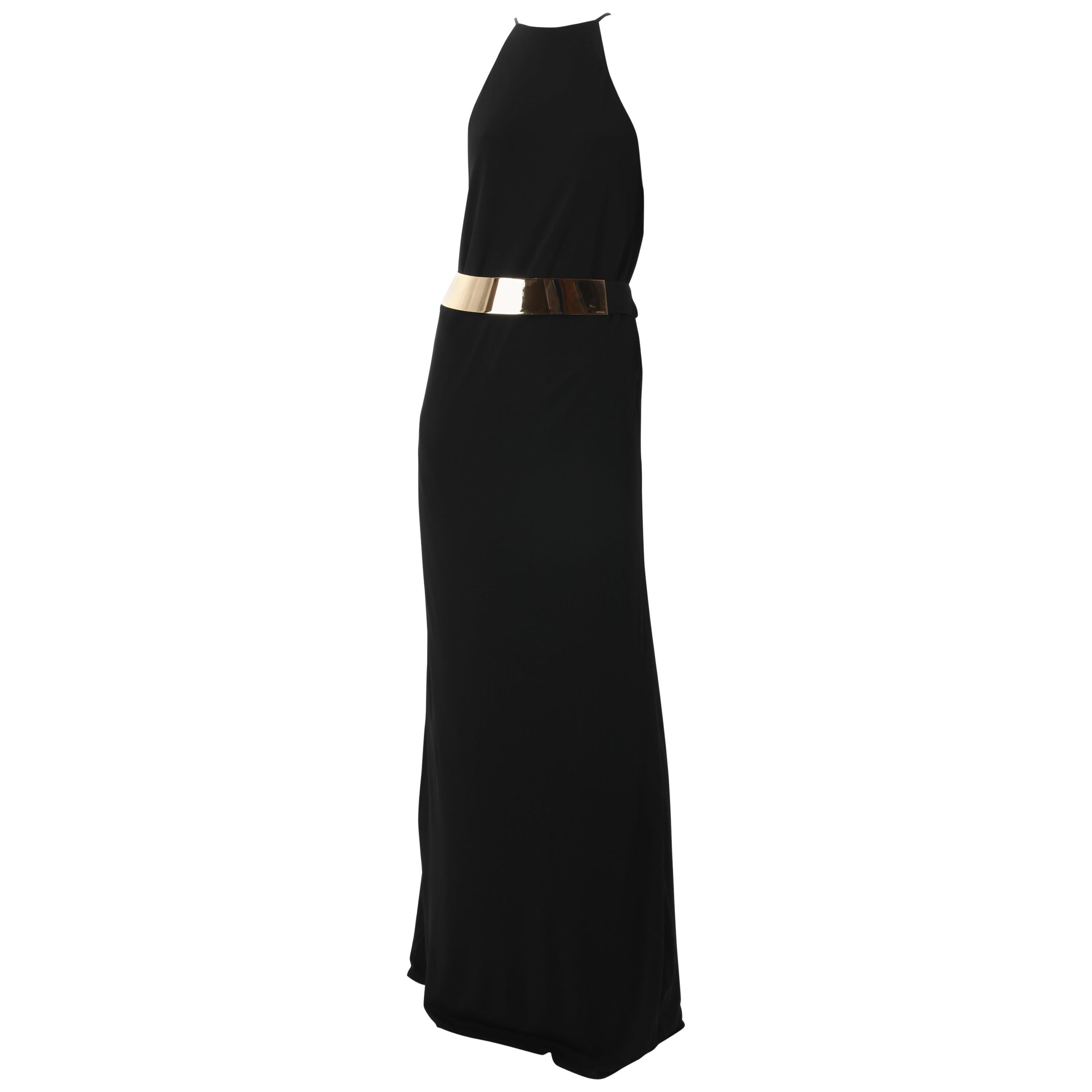 Tom Ford for Gucci Long Black Jersey Dress with Gold Belt. 1996.