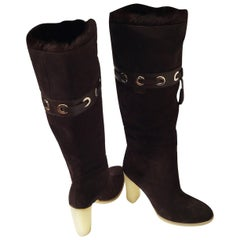 Tom Ford for Gucci Mink Suede Ad Boots Sz 10.5