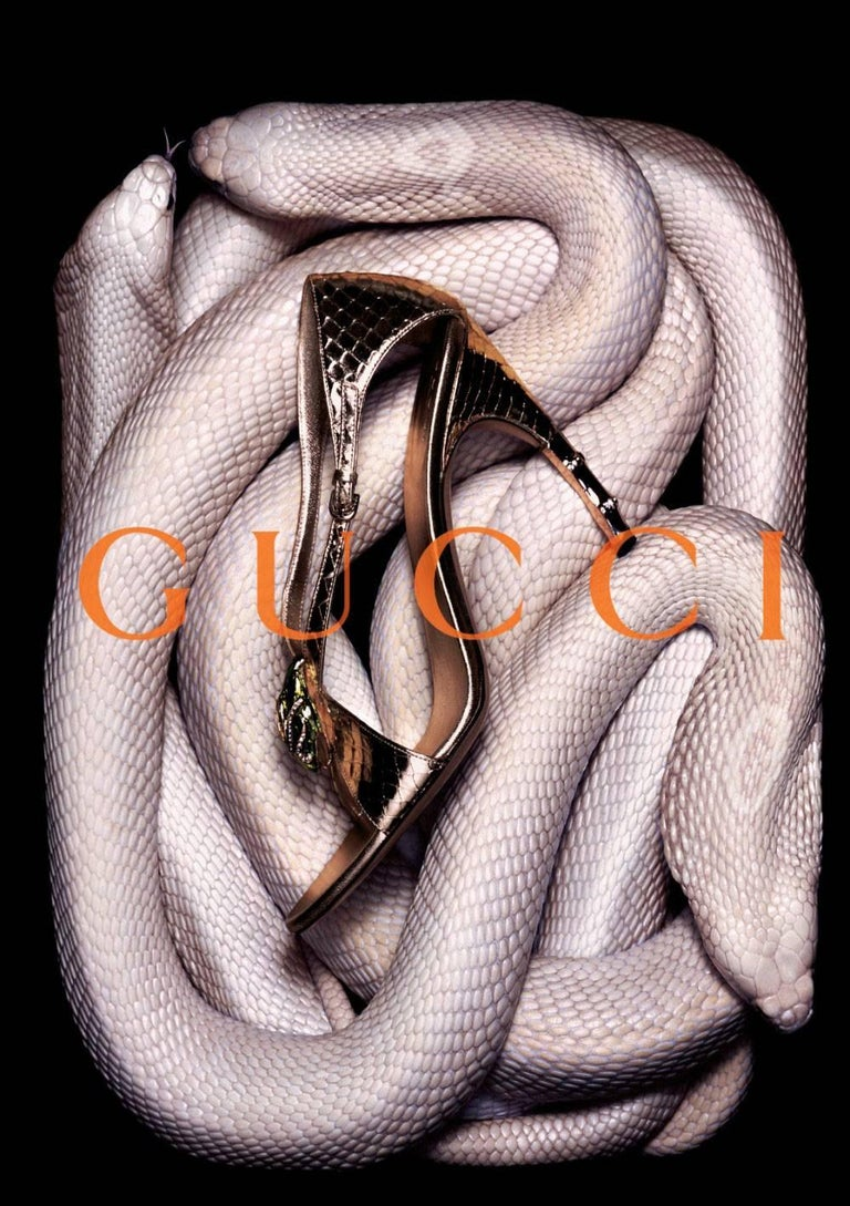 Tom Ford For Gucci Heels Worn Once for a Runway show Uppers are perfect, Soles have very minimal wear * Stunning in Gold Python * Tom Ford's