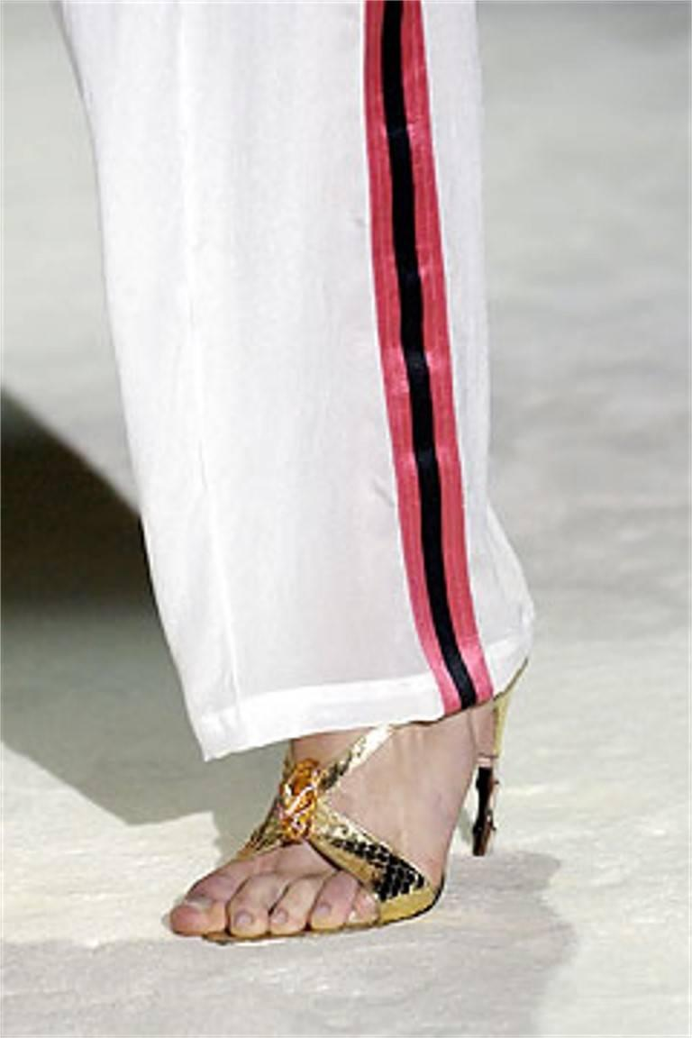 Tom Ford for Gucci Python Snake Head Ad Runway Heels Sz 37.5 For Sale 3