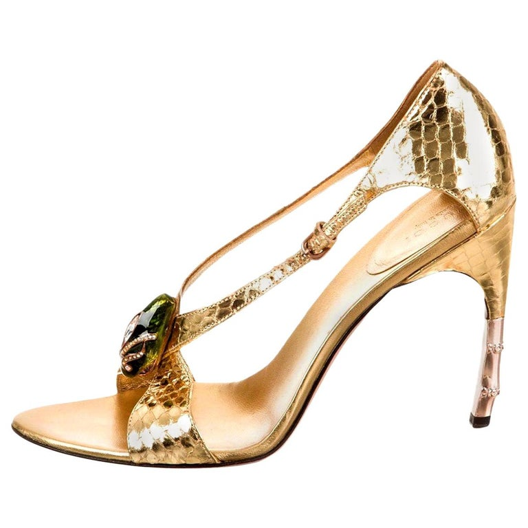 Tom Ford for Gucci Python Snake Head Ad Runway Heels Sz 37.5 For Sale