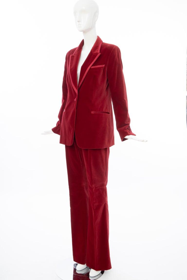 Tom Ford for Gucci Runway Crimson Cotton Velvet Pantsuit, Fall 1996 5