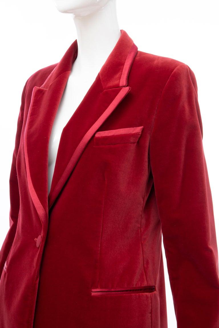 Tom Ford for Gucci Runway Crimson Cotton Velvet Pantsuit, Fall 1996 6
