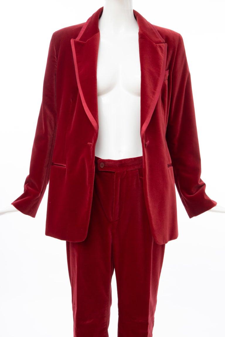 Tom Ford for Gucci Runway Crimson Cotton Velvet Pantsuit, Fall 1996 7