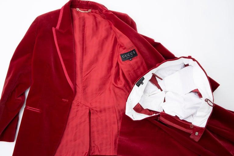 Tom Ford for Gucci Runway Crimson Cotton Velvet Pantsuit, Fall 1996 8