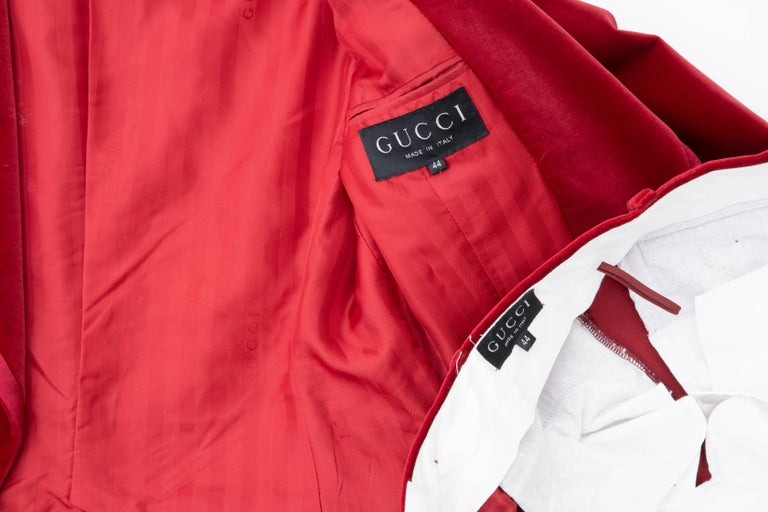 Tom Ford for Gucci Runway Crimson Cotton Velvet Pantsuit, Fall 1996 9
