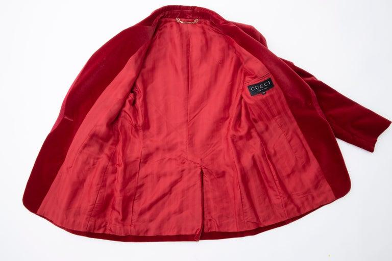 Tom Ford for Gucci Runway Crimson Cotton Velvet Pantsuit, Fall 1996 10