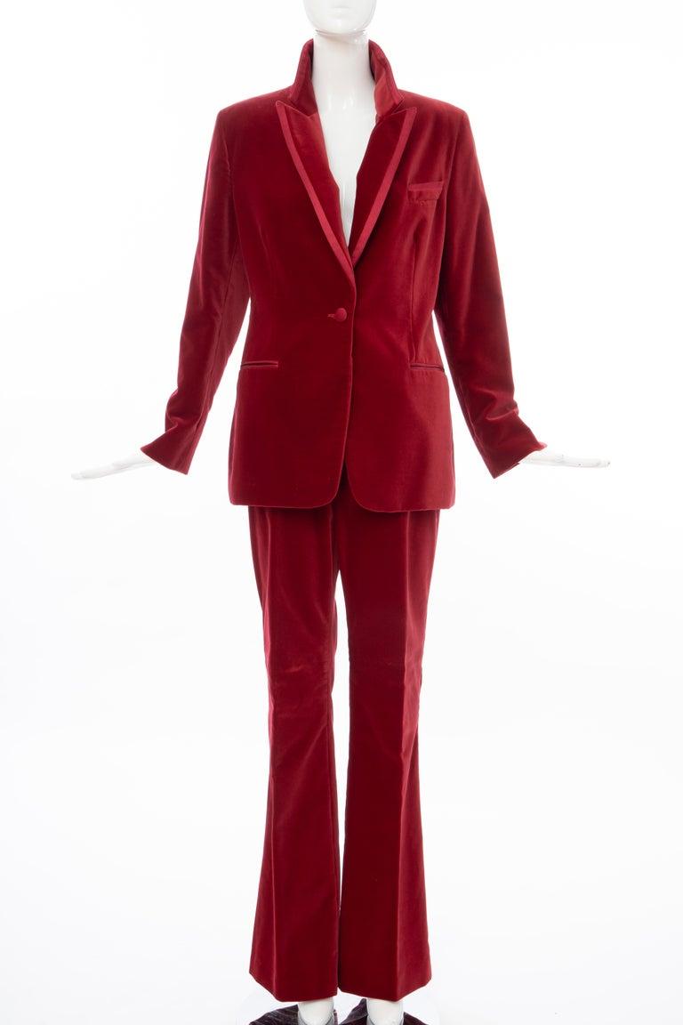 Tom Ford for Gucci Runway Crimson Cotton Velvet Pantsuit, Fall 1996 11