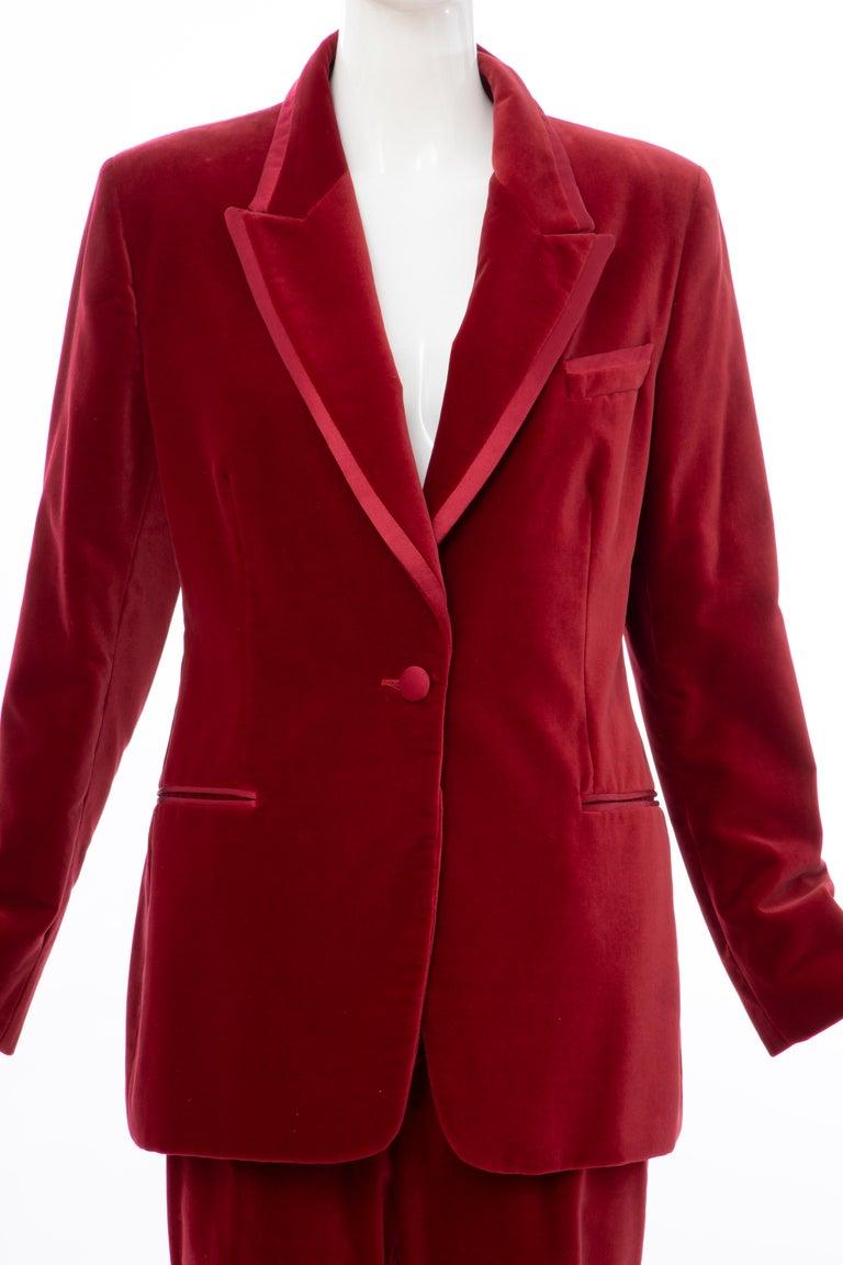 Red  Tom Ford for Gucci Runway Crimson Cotton Velvet Pantsuit, Fall 1996