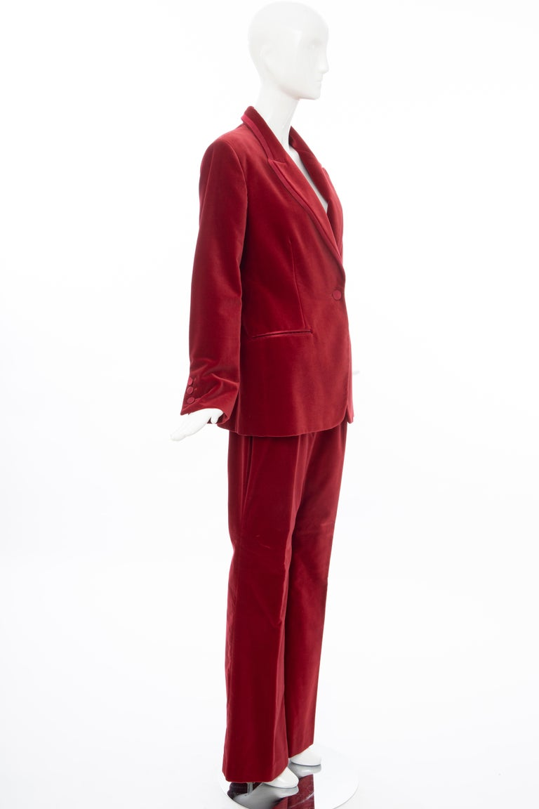 Tom Ford for Gucci Runway Crimson Cotton Velvet Pantsuit, Fall 1996 In Excellent Condition In Cincinnati, OH