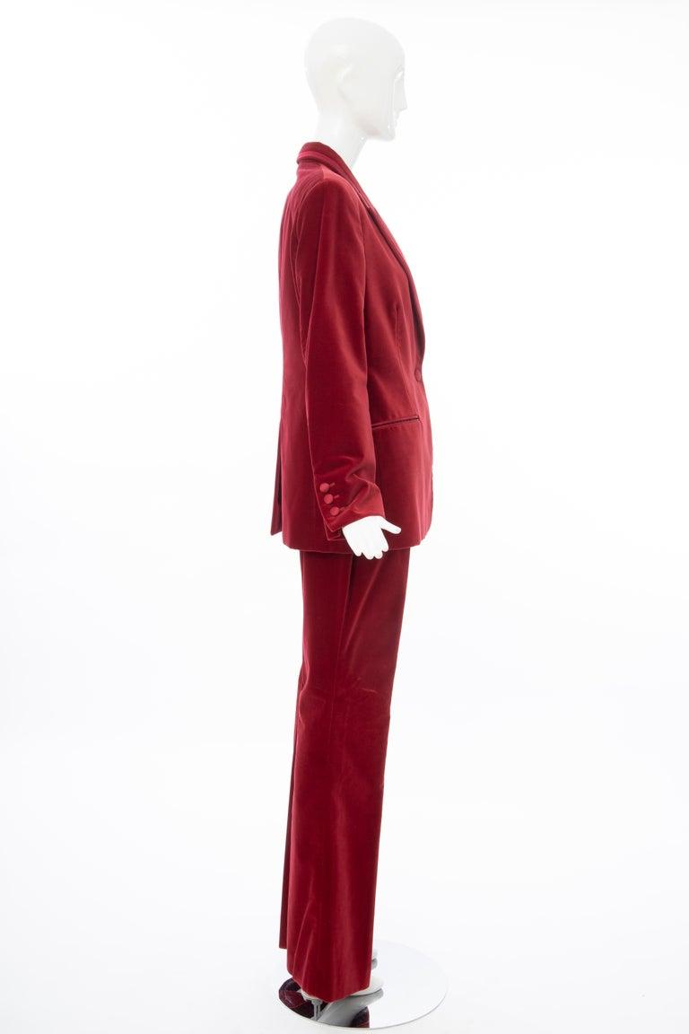 Women's  Tom Ford for Gucci Runway Crimson Cotton Velvet Pantsuit, Fall 1996