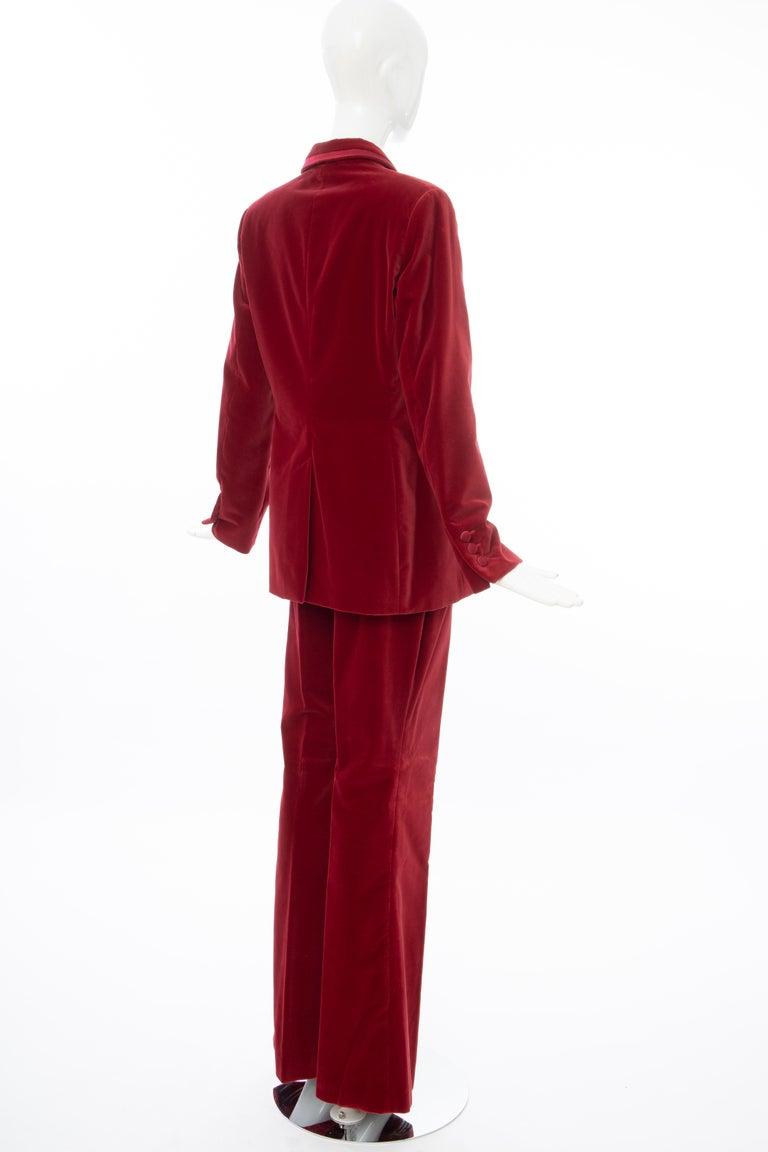 Tom Ford for Gucci Runway Crimson Cotton Velvet Pantsuit, Fall 1996 1