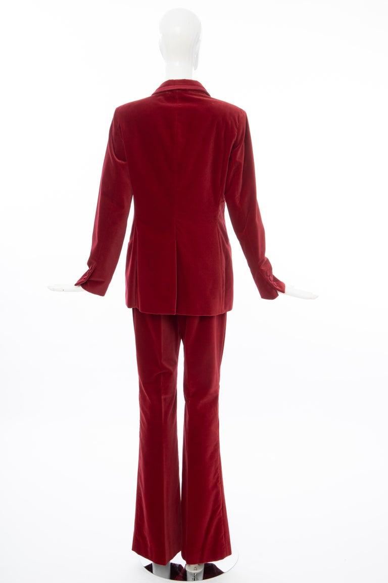 Tom Ford for Gucci Runway Crimson Cotton Velvet Pantsuit, Fall 1996 2