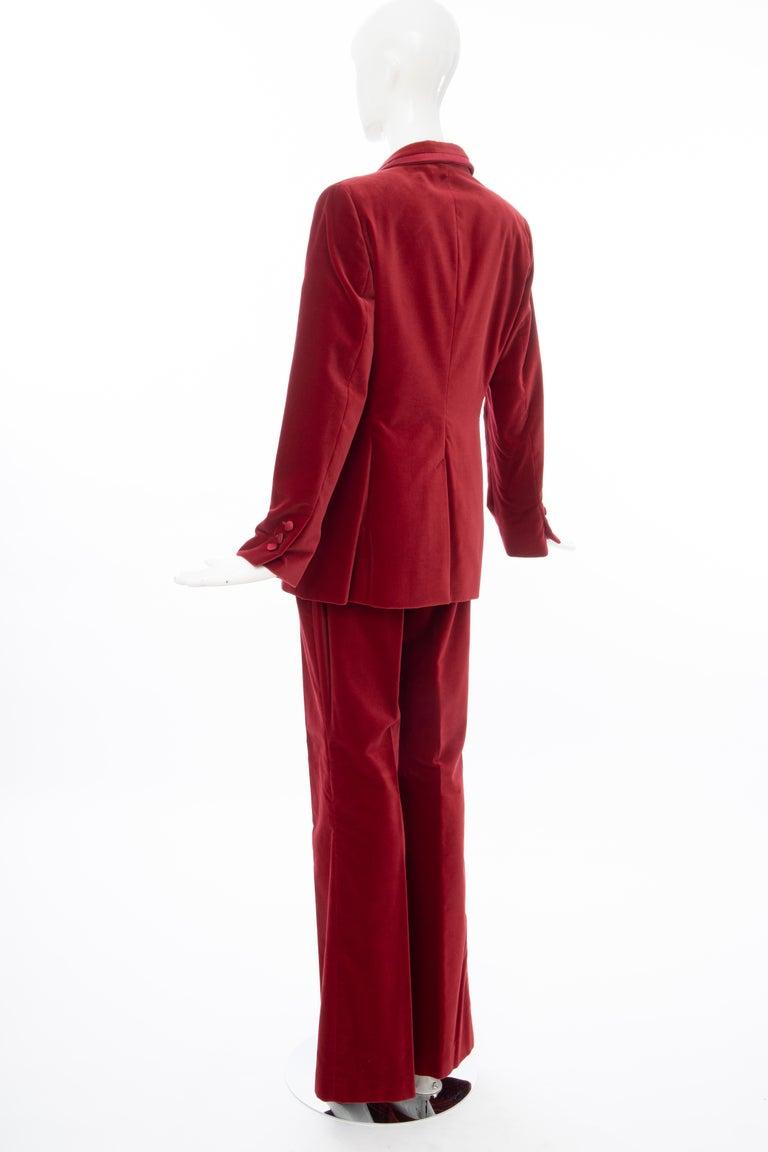 Tom Ford for Gucci Runway Crimson Cotton Velvet Pantsuit, Fall 1996 3
