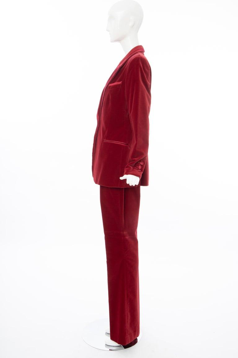 Tom Ford for Gucci Runway Crimson Cotton Velvet Pantsuit, Fall 1996 4