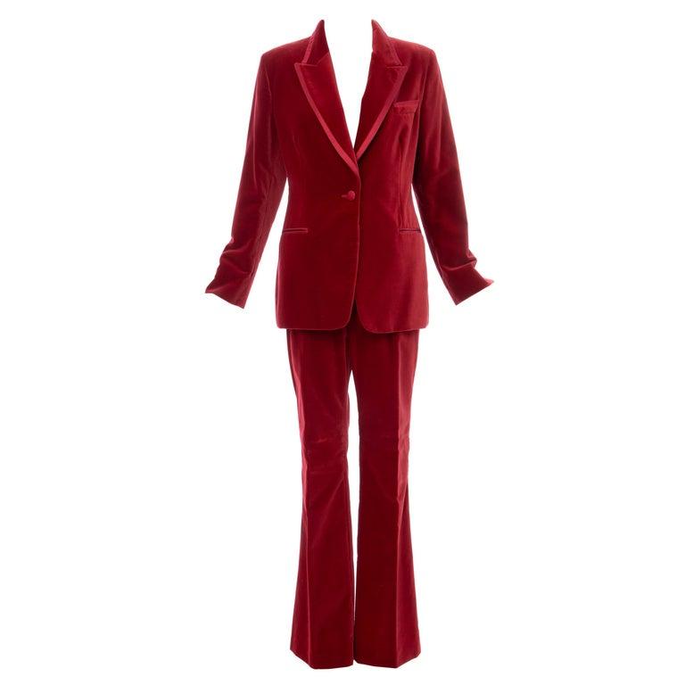 Tom Ford for Gucci Runway Crimson Cotton Velvet Pantsuit, Fall 1996