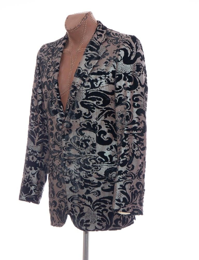 Tom Ford for Gucci Runway Damask Velvet Men's Tuxedo Blazer, Spring 2000 For Sale 7
