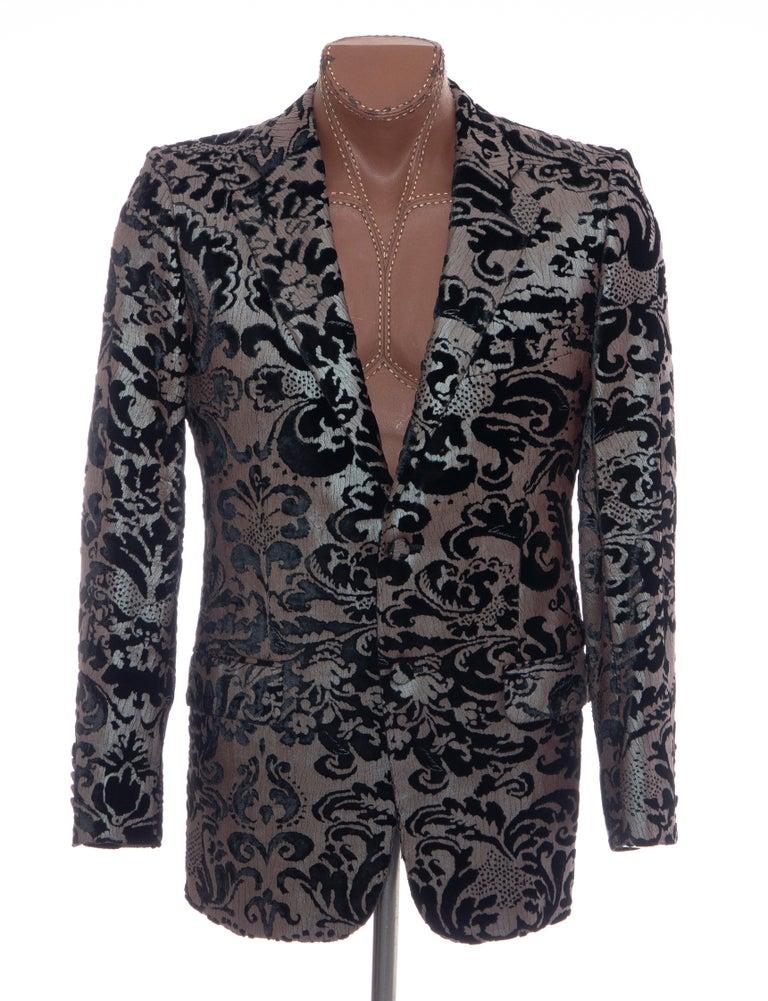 Tom Ford for Gucci Runway Damask Velvet Men's Tuxedo Blazer, Spring 2000 For Sale 9