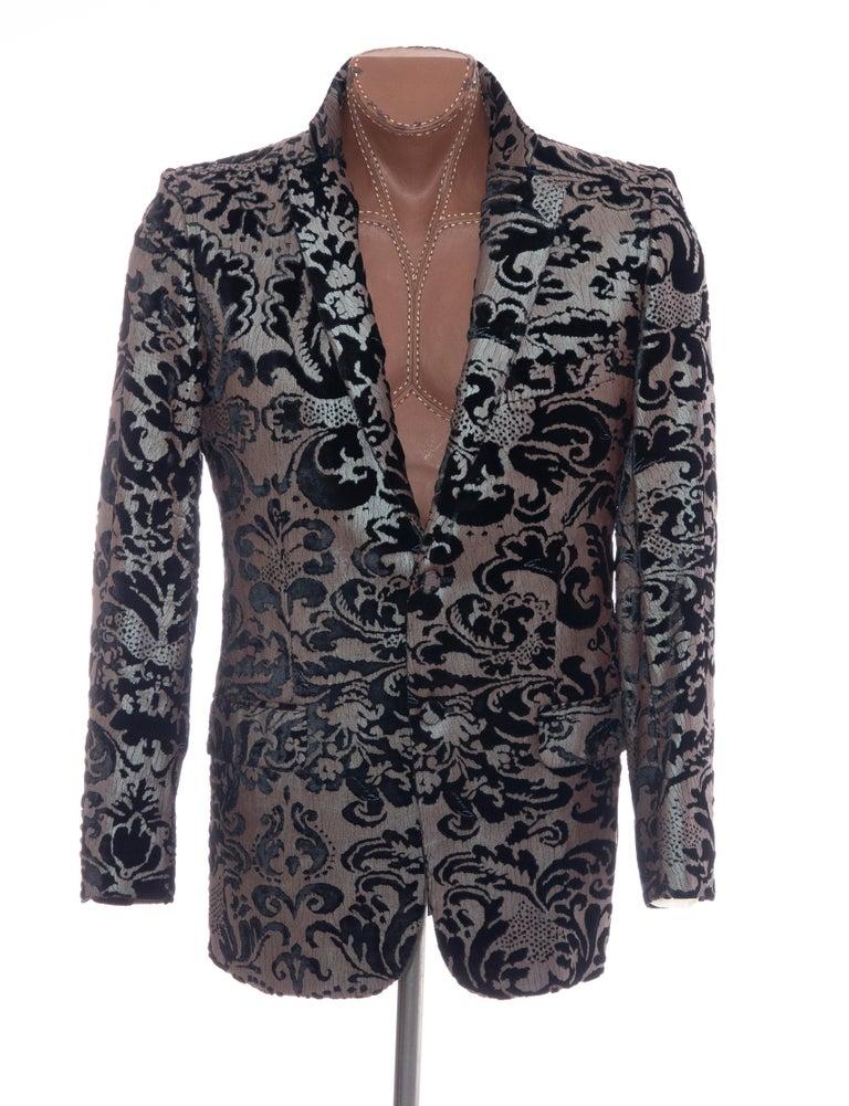 Tom Ford for Gucci Runway Damask Velvet Men's Tuxedo Blazer, Spring 2000 For Sale 10