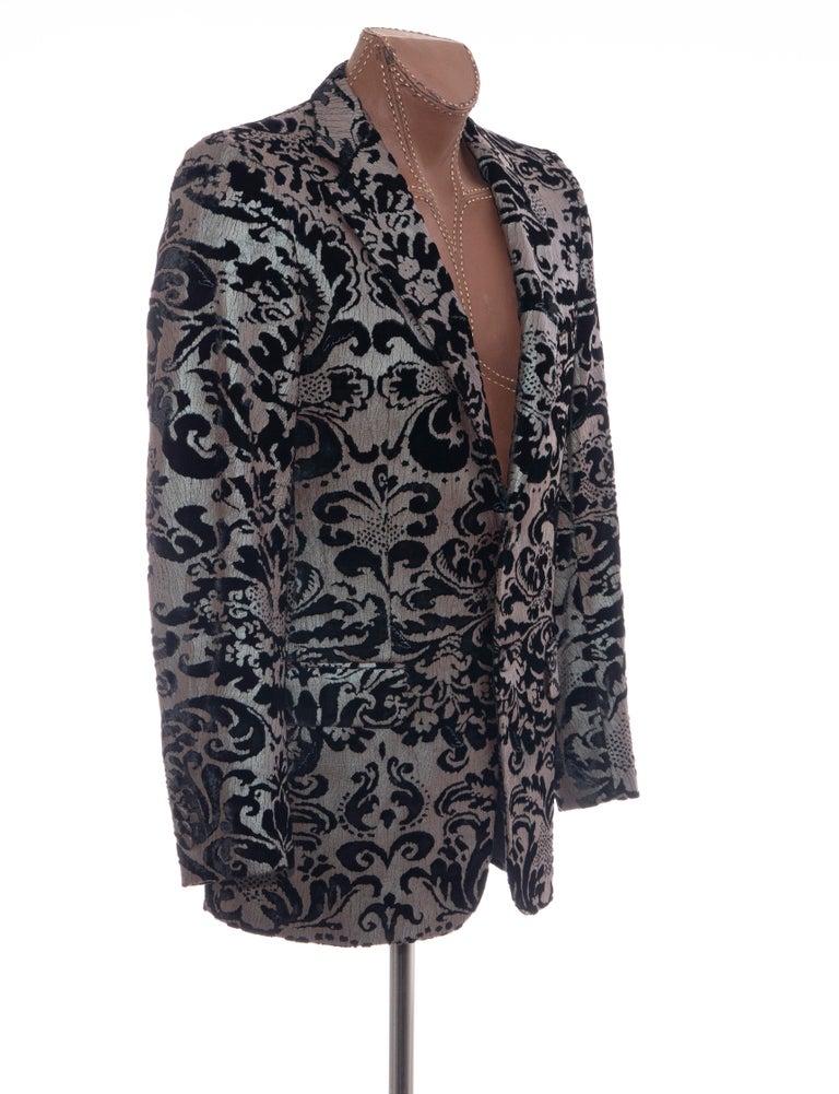 Black Tom Ford for Gucci Runway Damask Velvet Men's Tuxedo Blazer, Spring 2000 For Sale