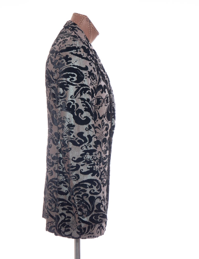 Tom Ford for Gucci Runway Damask Velvet Men's Tuxedo Blazer, Spring 2000 In Excellent Condition For Sale In Cincinnati, OH